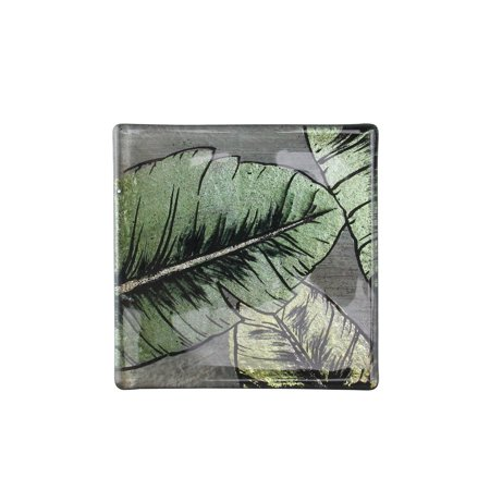 Set of 4 Metallic Green and Gray Hand Painted Tropical Palm Leaf Beverage Coasters 4