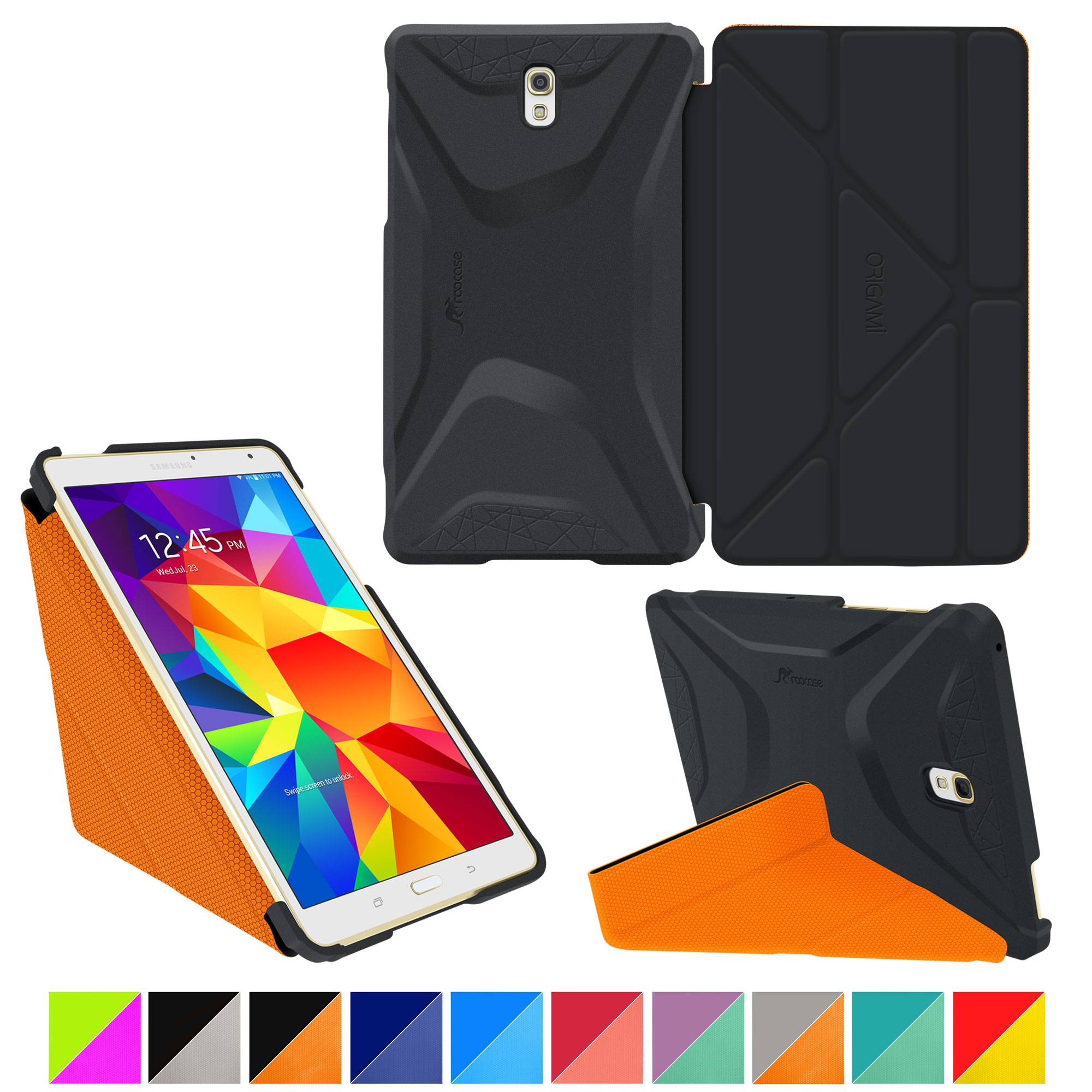 Galaxy Tab S 8.4 Case, Samsung Galaxy Tab S 8.4 case, rooCASE Origami (3 Way Stand) Slim Shell Lightweight Tablet Folio Smart Cover Black/Orange