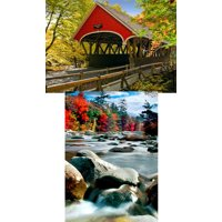 New England Scene: 2 Lenticular 3D Postcard Greeting Cards - Covered Bridgen & New England Fall