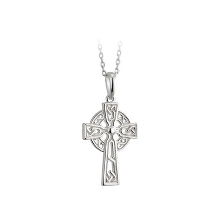 Childs Celtic Cross Necklace Silver Plate Confirmation Irish Made