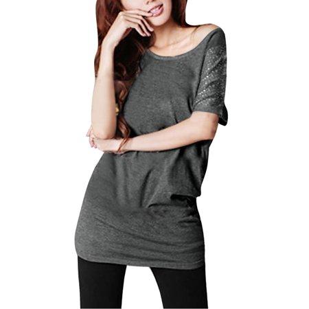Allegra K Women's Batwing Rhinestone Tunic T Shirt Gray (Size M / 8)