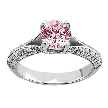 Harry Chad Enterprises 41180 1.51 Carat Pink White Round Diamond Engagement Ring - image 1 of 1