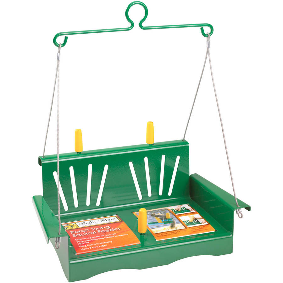 Belle Fleur Porch Swing Squirrel Feeder, Green, 3 Corn Cob Capacity