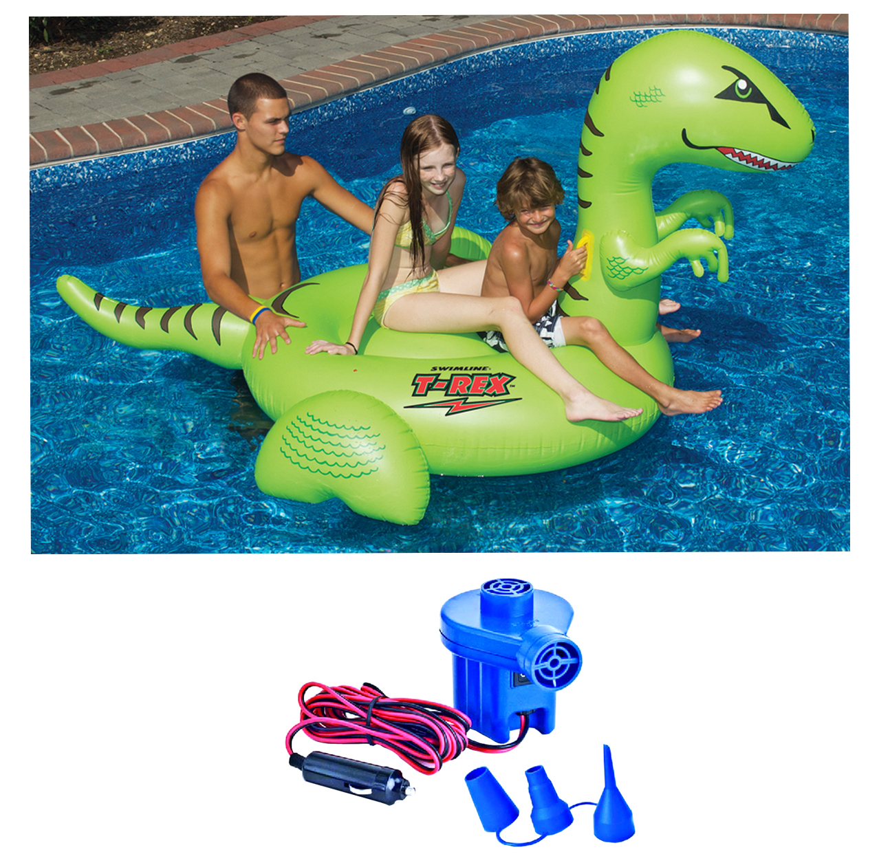 Swimline 90624 Pool Kids Giant Dinosaur Inflatable Float Toy w/ 12 Volt Air Pump