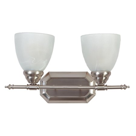 Y Decor L6432-2BN Modern Transitional Traditional 2 Light Bathroom Vanity Fixture Brushed Nickel with White Glass By  Brushed (Two Light Nickel Vanity)