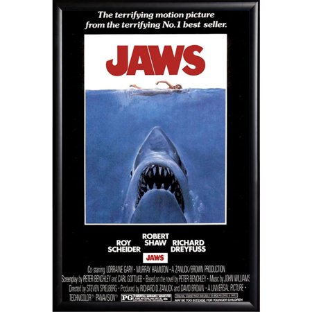 Framed Jaws Movie 24X36 Poster Dry Mounted In Real Wood Black Finish Crafted In Usa