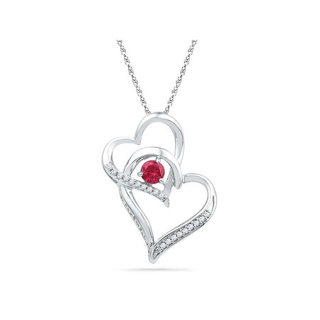 10kt White Gold Womens Round Lab-Created Ruby Heart Love Pendant 1/3 Cttw - image 1 de 1