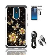 Phone Case for Straight Talk LG Journey Smartphone / LG Journey /LG Arena 2 / LG Escape Plus, Crystal Bling Shock-Resistant Cover Case [Tempered Glass]+ Charging Cable (Black Gold Butterfly)