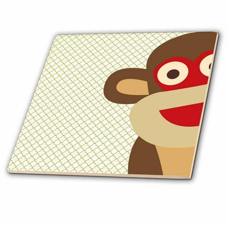3dRose Sock Monkey Peeking Around Corner - Cute Animal Art - Ceramic Tile, 8-inch