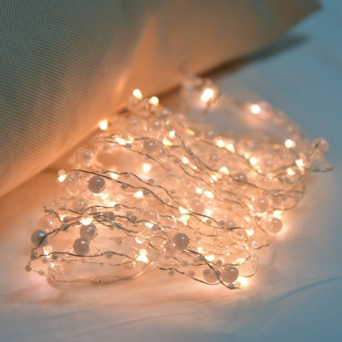 Led String Light, 20ft Pearl Copper Wire String Light War...