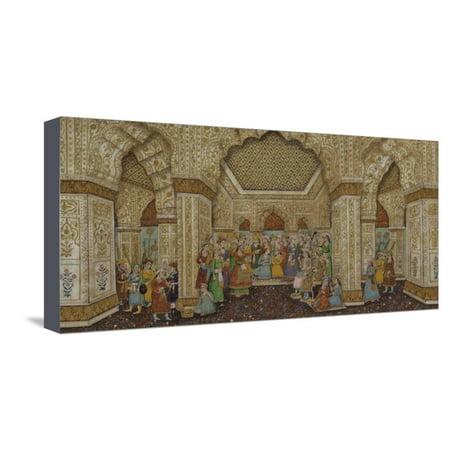 Mughal Palace Interior Depicting Shah Jahan and Mumtaz Mahal Stretched Canvas Print Wall (Images Of Shah Jahan And Mumtaz Mahal)