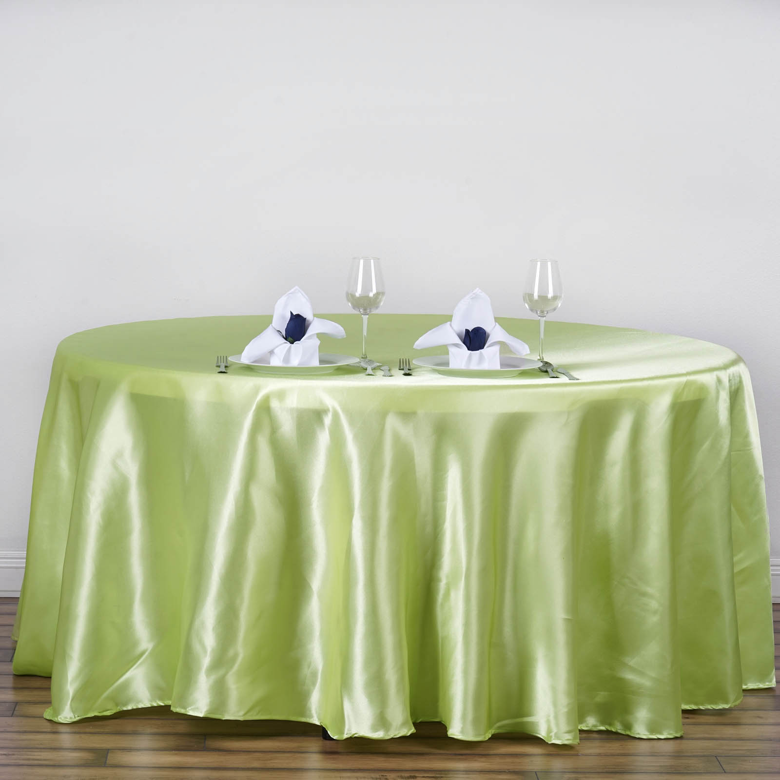 "Efavormart 120"" Round Satin Tablecloth for Kitchen Dining Catering Wedding Birthday Party Decorations Events"