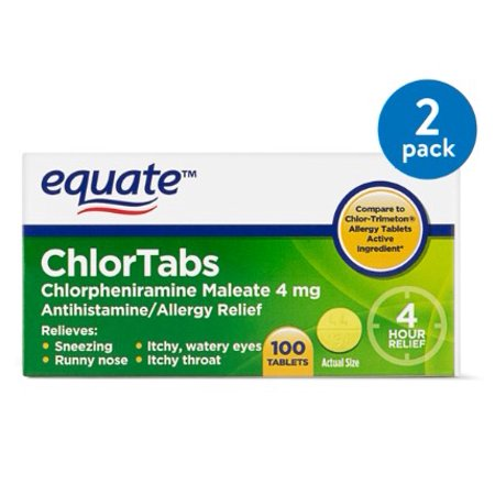 (2 Pack) Equate ChlorTabs Chlorpheniramine Antihistamine Tablets, 4 mg, 100
