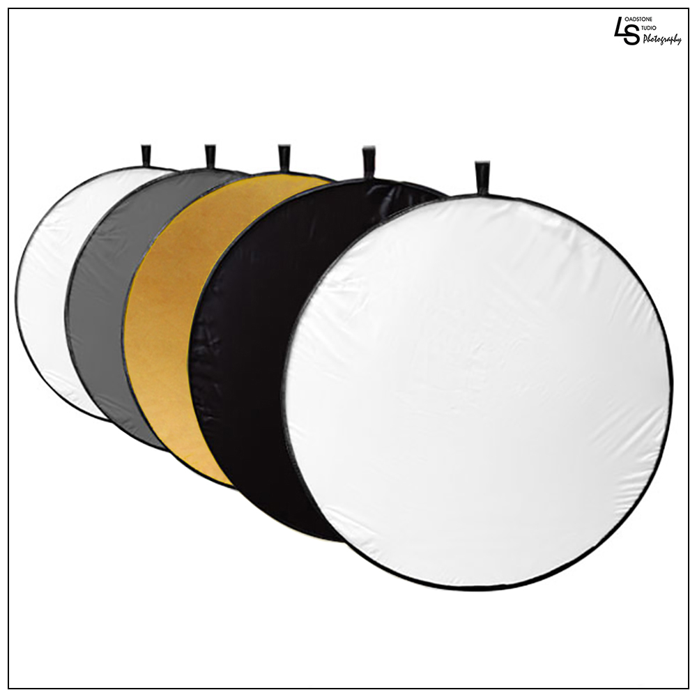 "Loadstone Studio 32"" 5-in-1 Photography Collapsible Light Disc Reflector, 5 Colors White, Black, Silver, Gold, Translucent, WMLS2060"