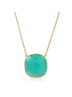 e99380278ef7e9 Product Image Teal Green Faceted Stone Bezel Simulated Chalcedony Quartz Pendant  Necklace For Women 14K Gold Plated Sterling