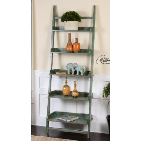 84 eco friendly distressed jade fir wood decorative etagere bookshelf. Black Bedroom Furniture Sets. Home Design Ideas
