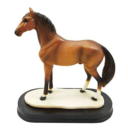 Thoroughbred Brown Chestnut Race Horse Figurine Model Steed Sculpture Desktop Decor