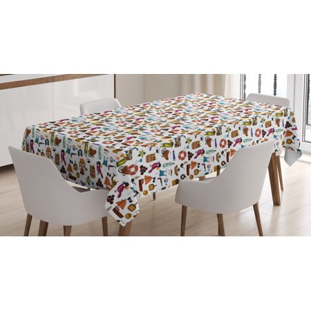 Rectangular Treasures (Pirates Tablecloth, Parrot Corsair Anchor Skeleton and Treasure Pattern in Cartoon Style Kids Adventure, Rectangular Table Cover for Dining Room Kitchen, 60 X 84 Inches, Multicolor, by Ambesonne )