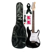 Huntington Electric Guitar Pack Featuring Gig Bag, Guitar Strap, Cable, Strings, Allen Wrench, Whammy Bar, 3 Single Coil Pickup, Rosewood Fretboard, Solid Body and More, Black