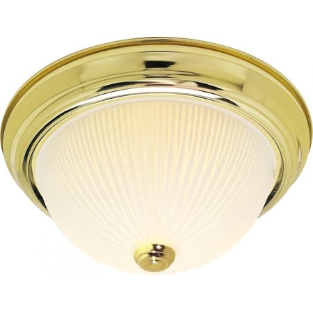 Frosted Ribbed Light Kit - SF76/130 11-Inch Polished Brass Flush Dome with Frosted Ribbed Glass By Nuvo Ship from US