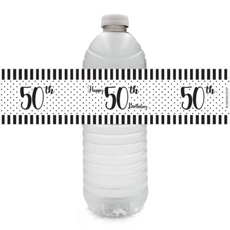 50th Birthday Water Bottle Labels, 24ct - Black and White Stripe and Polka Dot Birthday Party Supplies - 24 Count Stickers
