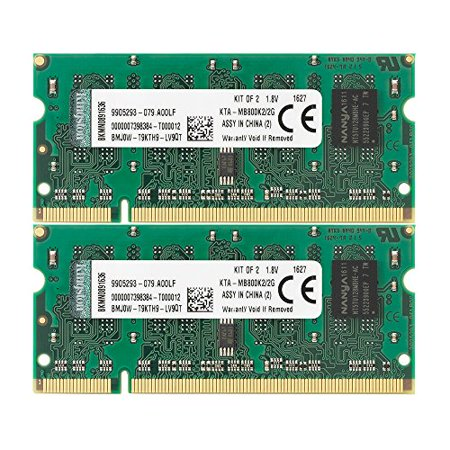 Kingston Technology 2 GB Kit (2x1 GB) Memory for Select Apple Imac's and Macbooks Dual Channel Kit 800 MHz (PC2 6400) 200-Pin DDR2 SO-DIMM KTA- MB800K2/2G - image 1 of 1