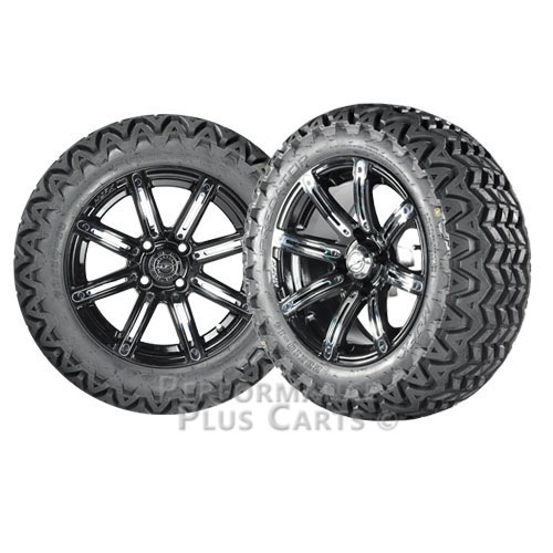 """Illusion 14"""" Black w/ Colored Inserts Golf Cart Wheels with 23"""" A/T Tires - X 4"""