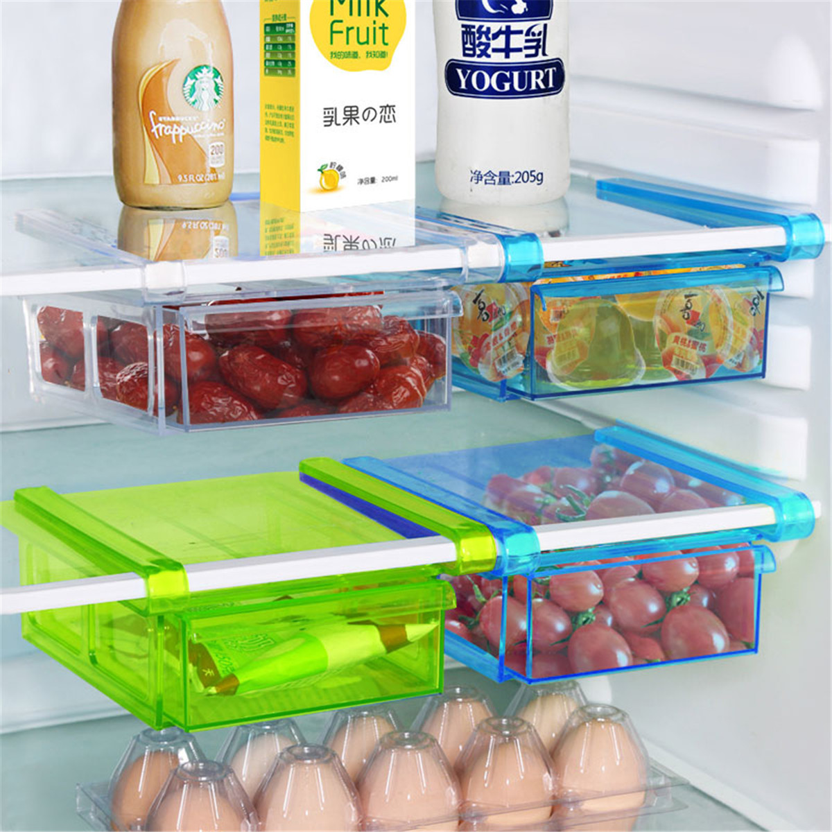 Kitchen Food Crisper Food Container Box Refrigerator Storage Box ,Plastic Bin Organizer Fridge Freezer Space Saver Drawer Holder
