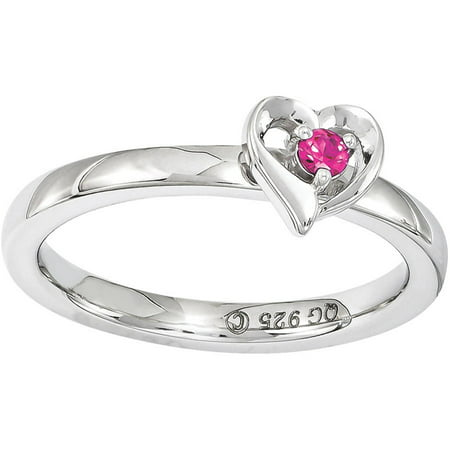 Stackable Expressions Created Ruby Sterling Silver Heart Ring
