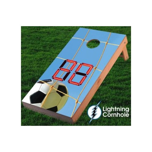 Lightning Cornhole Electronic Scoring Soccer Net Cornhole Board by