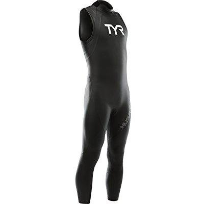 tyr sport men's hurricane sleeveless wetsuit category 1, black/white,