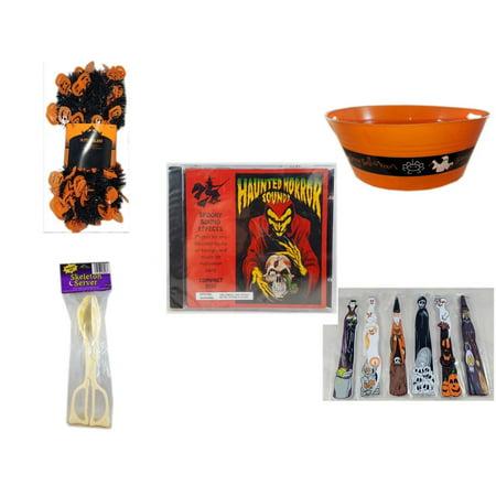 Halloween Fun Gift Bundle [5 Piece] -  Black & Orange Pumpkin Garland 10 ft. - 17.75 Inch Orange