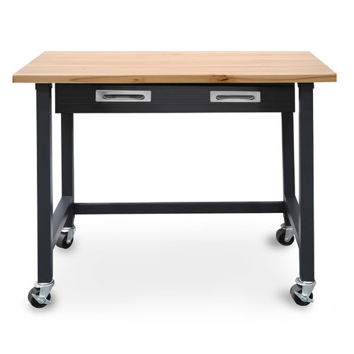 Seville Classics UltraGraphite Commercial Heavy-Duty Wood Top Workbench with Drawer on Wheels