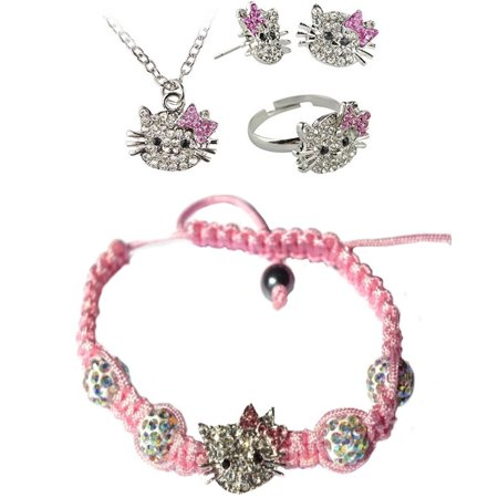 Girls Necklace And Earring Set (Kitty Girls Style 4 Piece Crystal Set Earrings Necklace Bracelet Ring,)