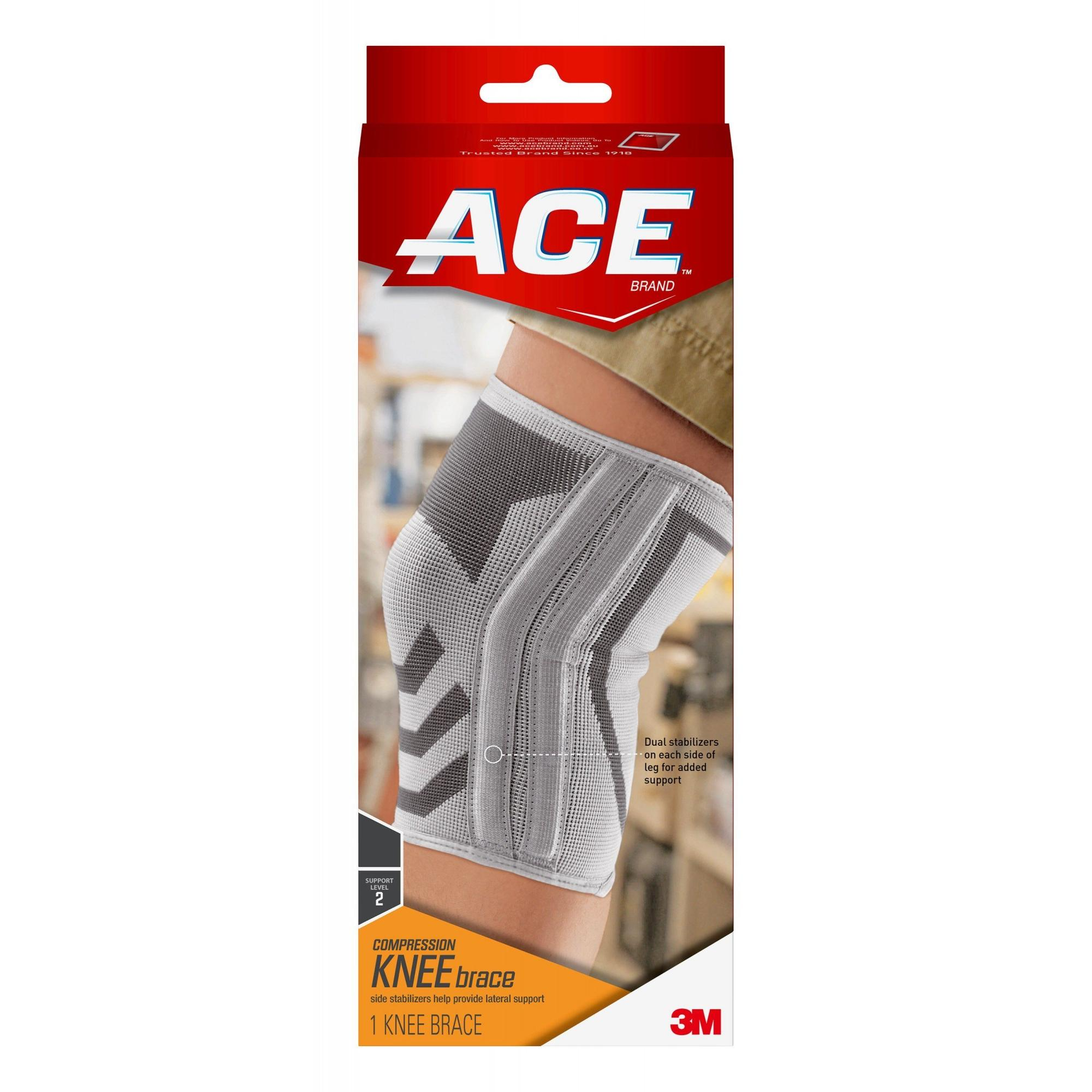 ACE Brand Compression Knee Brace with Side Stabilizers, Large, White/Gray, 1/Pack