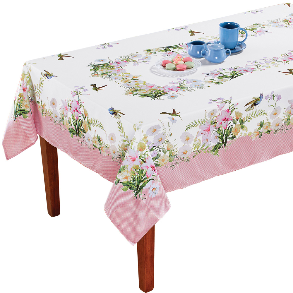 Hummingbird Garden Printed Tablecloth - Spring Dining Room and Kitchen Decorative Accent, Rectangle