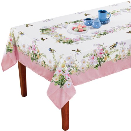Hummingbird Garden Printed Tablecloth Round - Spring Dining Room and Kitchen Decorative Accent, Rectangle (Bandana Print Tablecloth)