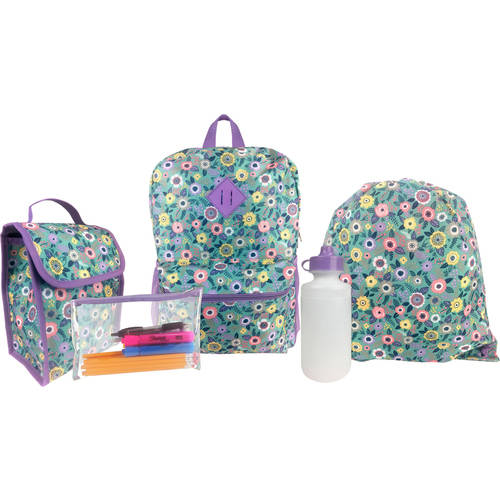 iPack 5 Piece Kids Backpack Set w/ Backpack, Lunch Kit, Cinch Sack, Pencil Case and Water Bottle, Owl Print