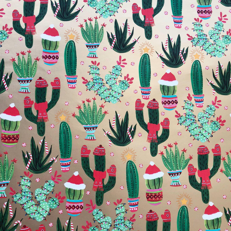 Jillson & Roberts Gift Wrap, Christmas Cactus (8 Rolls 5ft x 30in)