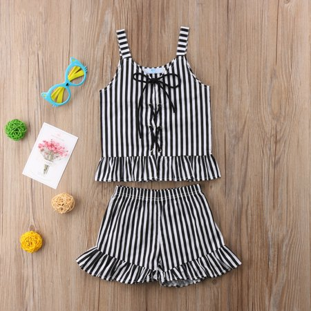 Baby Little Girl Striped Tie Halter Top and Short Pants 2pcs Summer Ruffles Shorts Outfits Set