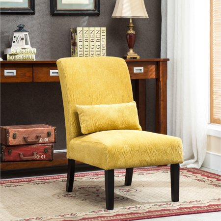 Porch & Den  Botanical Heights Vista Chenille Upholstered Armless Accent Chair with Matching Kidney Pillow ()