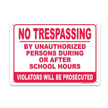 Satin Aluminum Wall Mounted Sign - No Trespassing Sign 7 x 10 .40 Aluminum, For Indoor or Outdoor Use - Made Of Rust Free Aluminum-UV Printed With Professional Graphics-Easy To Mount Indoors & Outdoors By SIGO SIGNS