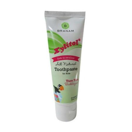 Branam Santé bucco-dentaire Xylitol Toothpaste pour les enfants, Miam miam Bubblegum, 4,2 oz (Lot de 3)