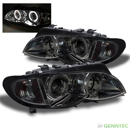 2009 Bmw Sedan (Smoked 2002-2005 BMW E46 4Dr Sedan Dual Halo Projector Headlights Lamps L+R Pair Left+Right 2003 2004)