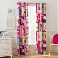 Mainstays Pink Horsey Room Darkening Girls Bedroom Single Curtain Panel