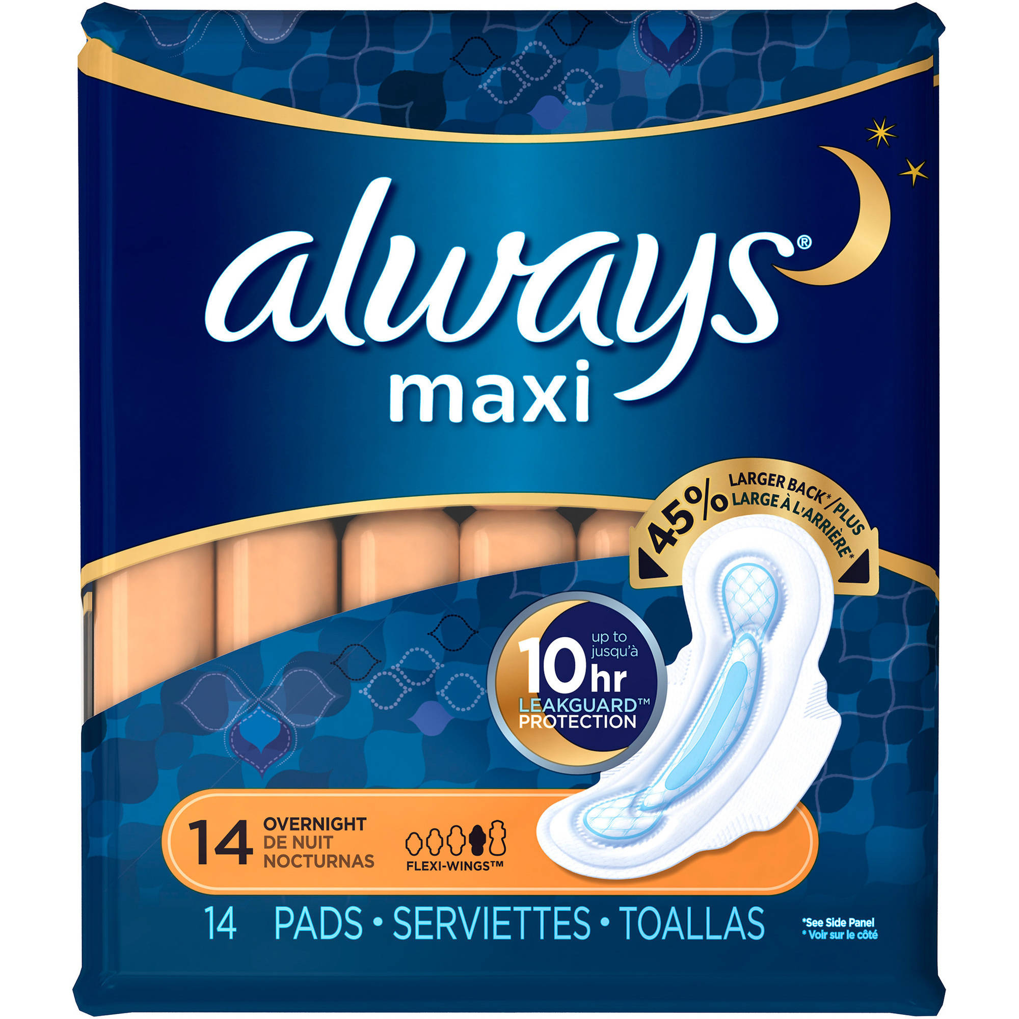 Always Maxi Overnight Pads with Flexi-Wings, (Choose your Count)