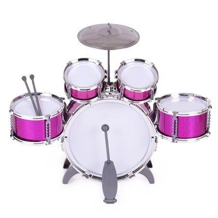 Children Kids Drum Set Musical Instrument Toy 5 Drums with Small Cymbal Stool Drum Sticks for Boys Girls ()