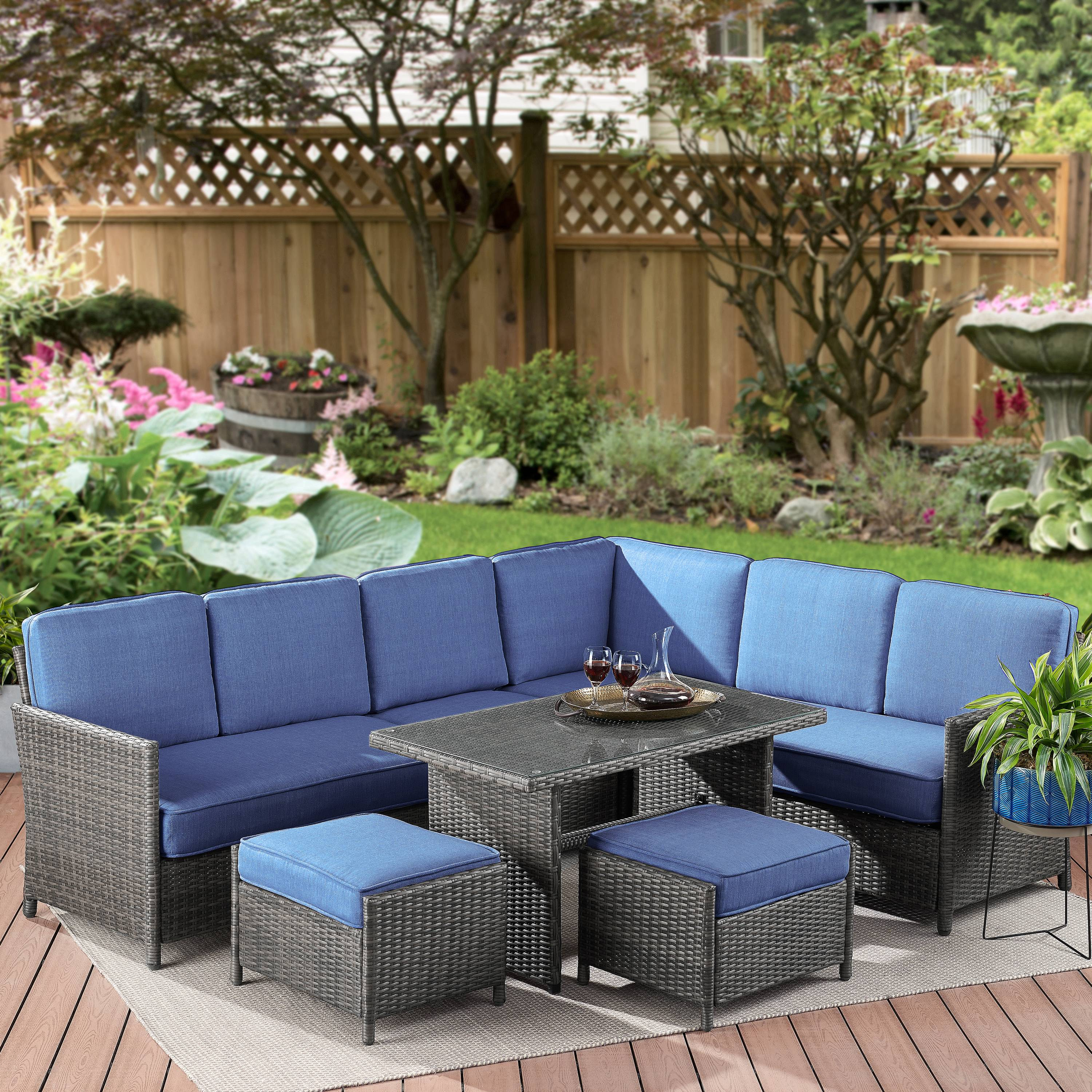 Better Homes & Gardens Mayers Bay 7-Piece Sectional Dining Set with Navy Cushions
