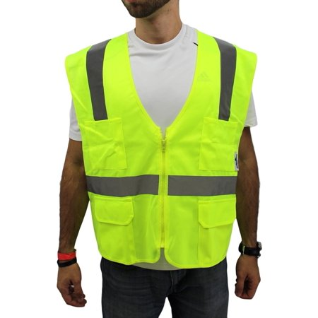 4XL Lime Safety Vest/ 4 Pockets ANSI/ISEA 107-2015 Class 2 Class 1 Safety Vest