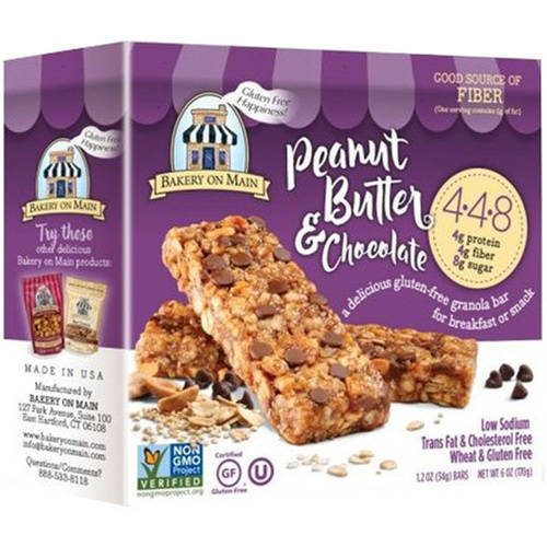 Bakery On Main Chocolate Peanut Butter Granola Bar, 6 oz, (Pack of 12)